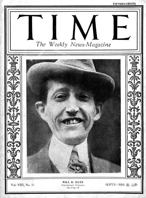 Уилл Хейс на обложке журнала «Time» от 13-го сентября 1926-го года