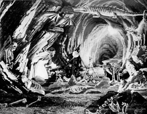 Кадр из фильма «Галлюцинации алхимика, или фармацевтические трюки», реж. Ж. Мельес, 1908