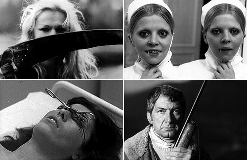 Слева направо и сверху вниз: «Очарование» (1979), «Кровавые губы» (1975), «Ночь охоты» (1980), «Гроздья смерти» (1978). Реж. Жан Роллен