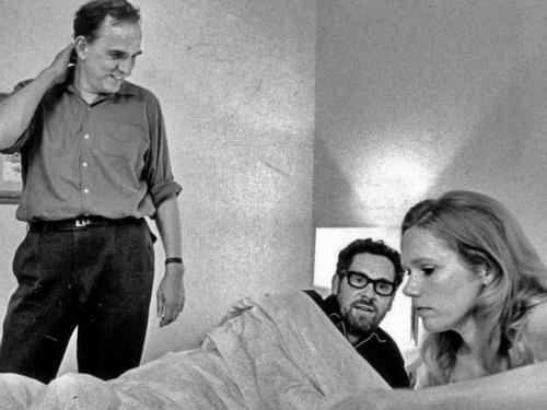 Ингмар Бергман, Эрланд Юсефсон и Лив Ульман на съемках фильма «Сцены из супружеской жизни» (1973)