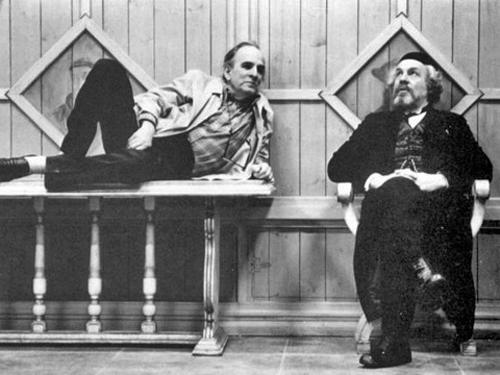 Ингмар Бергман и Эрланд Юсефсон на съемках фильма «Фанни и Александр» (1982)