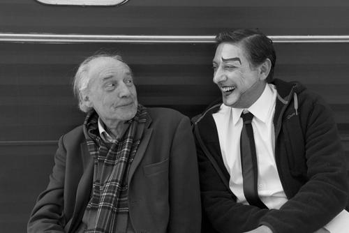 Жак Риветт и Серджо Кастеллитто на съемках фильма«36 видов с пика Сен-Лу»