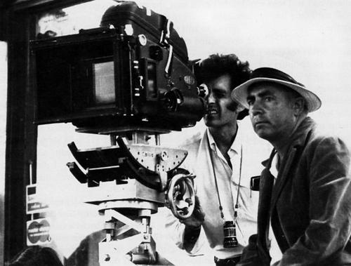Монте Хеллман и Грегори Зандор на съемках фильма «Двухполосное шоссе»,1971