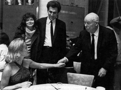 Жаклин и Монте Хеллман вместе с Жаном Ренуаром на Международном кинофестивале в Монреале, 1967