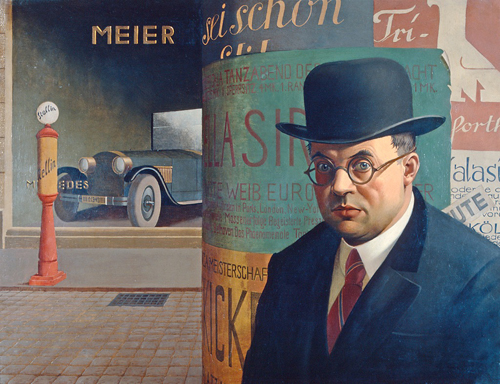 Георг Шольц. «Автопортрет на фоне театральной тумбы», 1926
