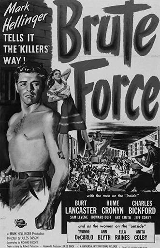 Плакат кфильму «Грубая сила» (реж. Жюль Дассен, 1947), подозреваемому впропаганде коммунизма
