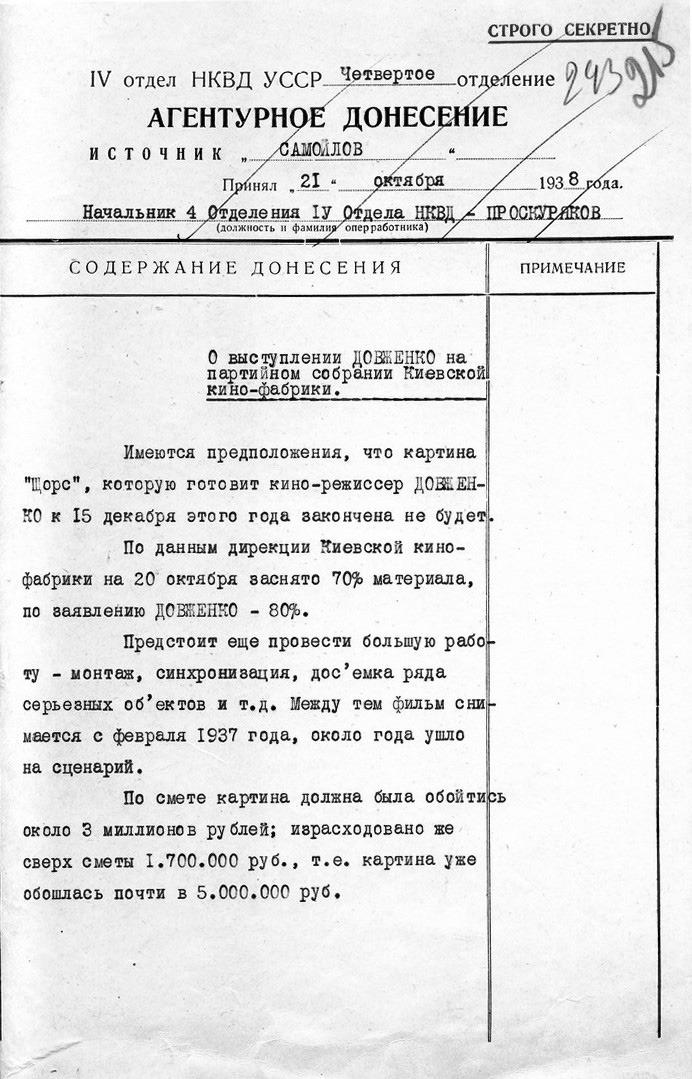 Один из доносов на Александра Довженко. Фото: Отраслевой государственный архив Службы безопасности Украины