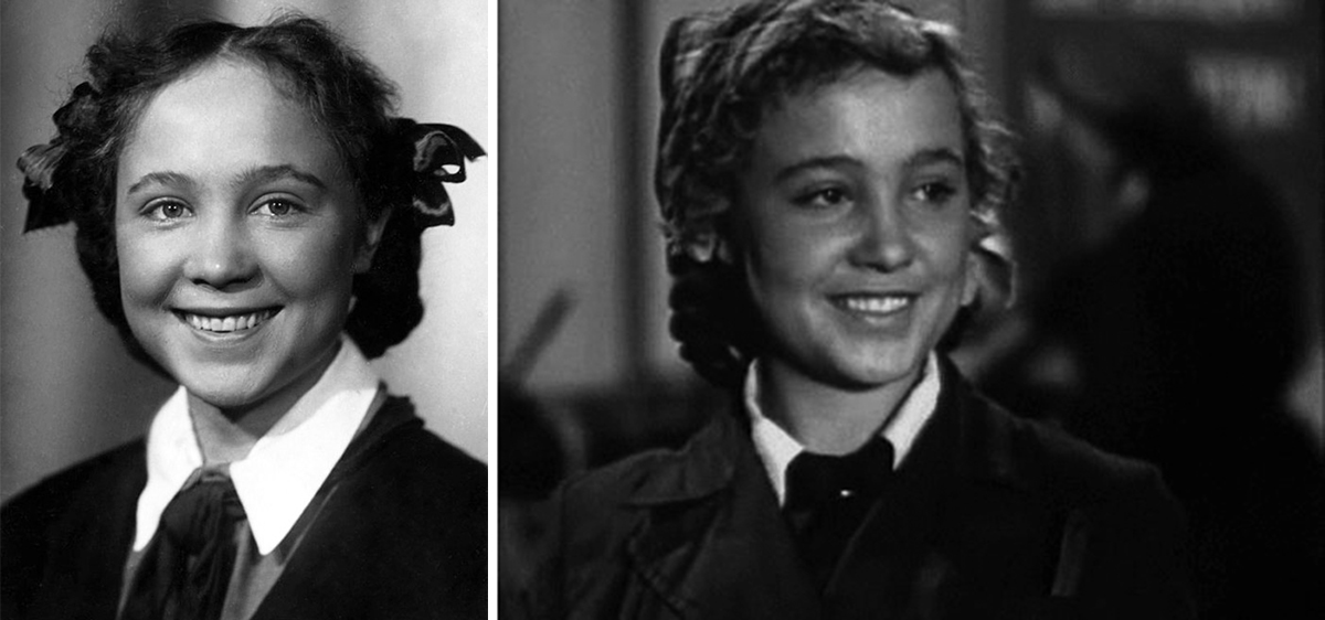 Слева: Надежда Румянцева в школе. Справа: «Навстречу жизни». 1952